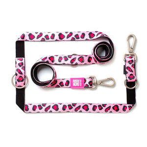 Max & Molly Multi-Function Hondenriem - Leopard Pink - S