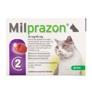 Milprazon grote kat (16 mg) – 2 tabletten