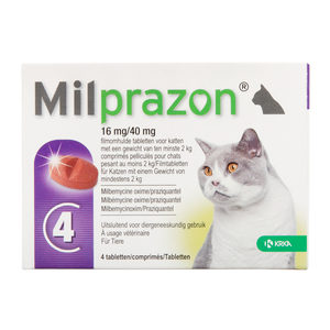 Milprazon grote kat (16 mg) – 4 tabletten