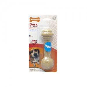 Nylabone Dura Chew Barbell Peanut Butter Kluif - Medium