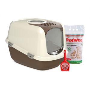 PeeWee EcoDome - Kattenbak - Startpakket Bruin/Roomwit