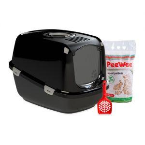 PeeWee EcoDome - Kattenbak - Startpakket Zwart/Zwart kopen