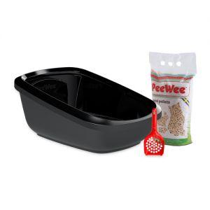 PeeWee EcoGranda - Kattenbak - Startpakket Zwart/Zwart