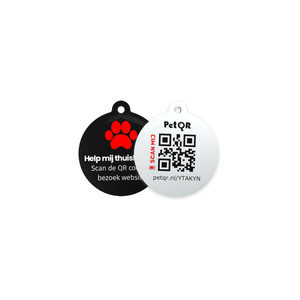 Pet QR Slimme Dierenpenning Zwart + 1 jaar Cloud