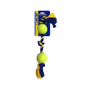 Petsport Medium 3-Knot Cotton Rope with 2 Tuff Balls - 43 x 6 cm