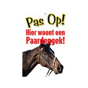 Afbeelding Plenty Gifts Waakbord - 'Pas op! Hier woont een paardengek' door Medpets.nl