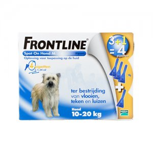 Frontline Spot On hond M (10-20 kg) - 3 pip. plus 1 gratis