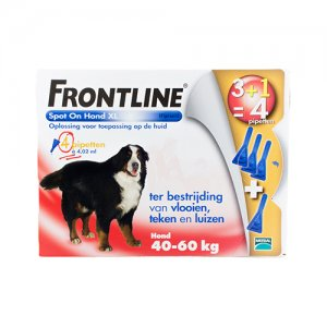 Frontline Spot On hond XL (40-60 kg) - 3 pip. plus 1 gratis