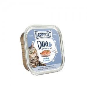 Happy Cat - Duo Menu Rind & Dorsch (Rund & Kabeljauw) - 12 x 100 g