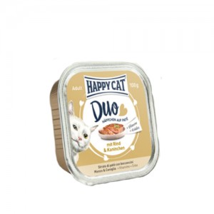 Happy Cat - Duo Menu Rind & Kaninchen (Rund & Konijn) - 12 x 100 g