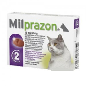 Milprazon grote kat (16 mg) - 2 tabletten