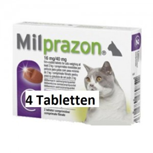 Milprazon grote kat (16 mg) - 4 tabletten