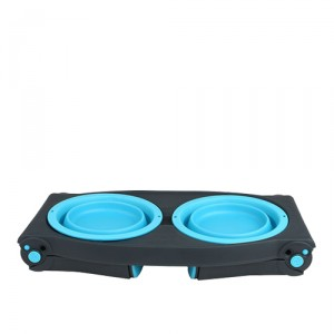 Popware Adjustable Height Pet Feeder - Blauw