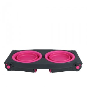 Popware Adjustable Height Pet Feeder - Roze