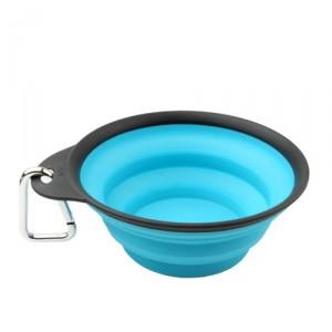 Popware Travelcup met Karabijnhaak – Blauw – 473 ml.