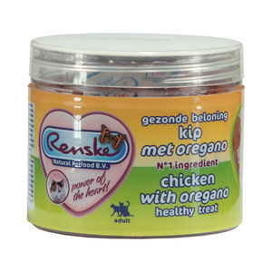 Renske Kat Gezonde Beloning Vleeshartjes - Kip & Oregano - 100 gram