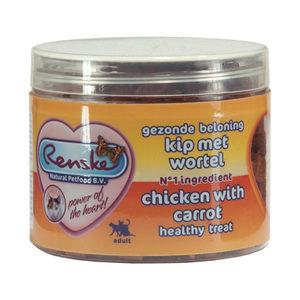 Renske Kat Gezonde Beloning Vleeshartjes - Kip & Wortel - 100 gram