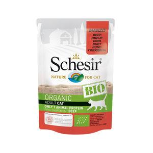 Schesir Hond Biologisch Adult – Rund – 16 x 85 g maaltijdzakjes