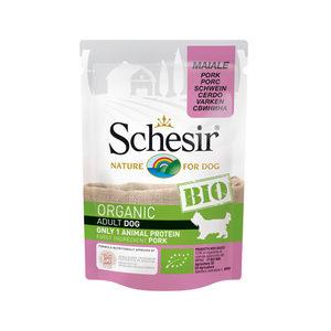 Schesir Hond Biologisch Adult – Varken – 16 x 85 g maaltijdzakjes
