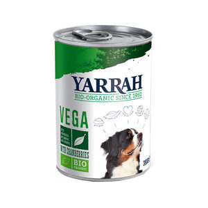 Yarrah – Natvoer Blik Vega Chunks met Cranberries Bio – 12 x 380 g