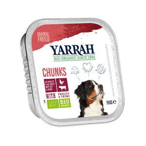 Yarrah - Natvoer Hond Kuipje Chunks met Rund Bio - 12 x 150 g kopen